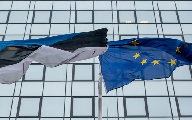 Flags of Estonia and the EU.