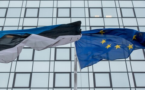 Flags of Estonia and the EU.