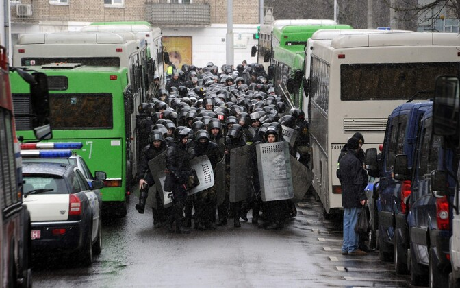 Valgevene märulimiilits laupäeval Minskis.