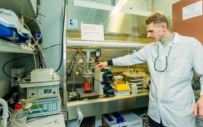 TTÜ keemia ja biotehnoloogia instituudi vanemteadur Kaarel Adamberg näitab inimese jämesoolt imiteerivat süsteemi ehk fermenterit, milles simuleeritakse kontrollitud tingimustel ja hapnikuvabas keskkonnas soolebakterite kasvu kiudaine