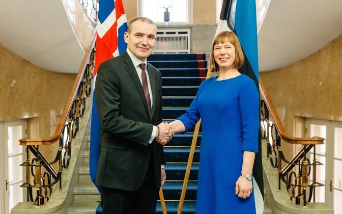 Icelandic President Guðni Thorlacius Jóhannesson and President Kersti Kaljulaid in Kadriorg, Tallinn. March 27, 2017.