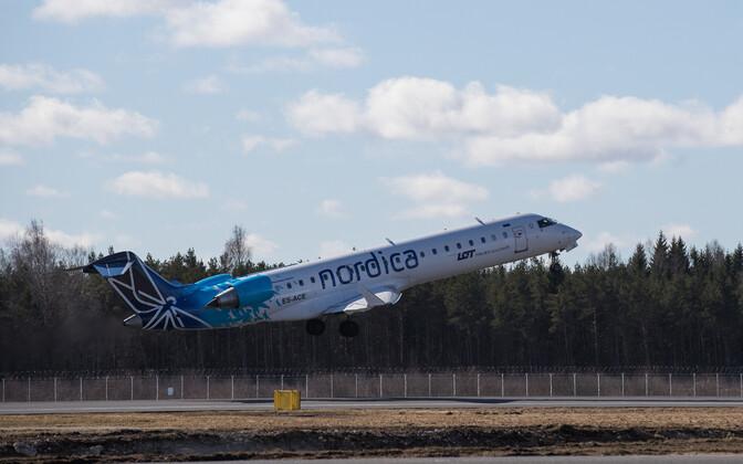 Nordica jet taking off in Tallinn.