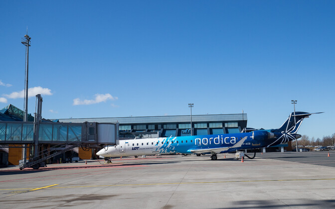 A jet in Nordica livery at Tallinn Airport.