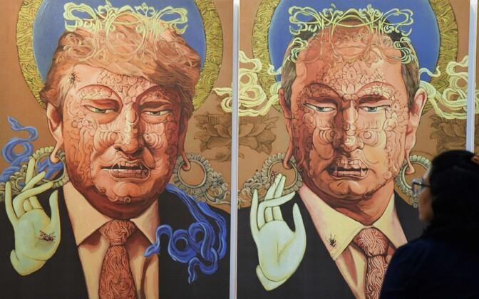 Donald Trumpi ja Vladimir Putinit kujutav Nepali kunstniku Sunil Sidgeli teos.