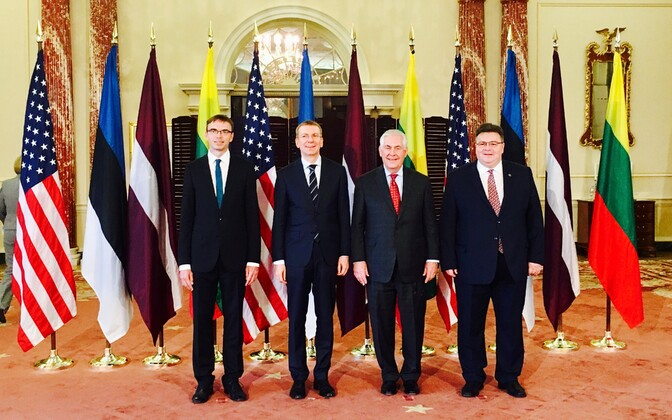 The foreign ministers of Estonia, Latvia and Lithuania with U.S. Secretary of State Rex Tillerson (third from left) in Washington. March 28, 2017.
