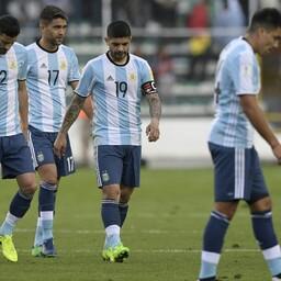 Pettunud Argentina koondise mängijad.