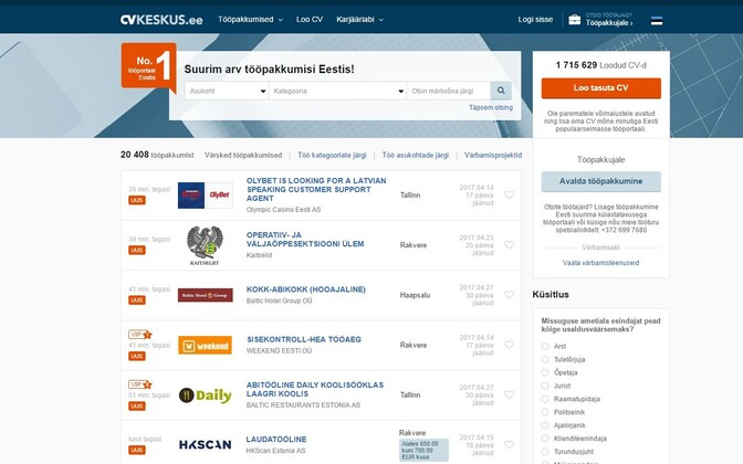 Homepage of CV Keskus, a popular job portal site.