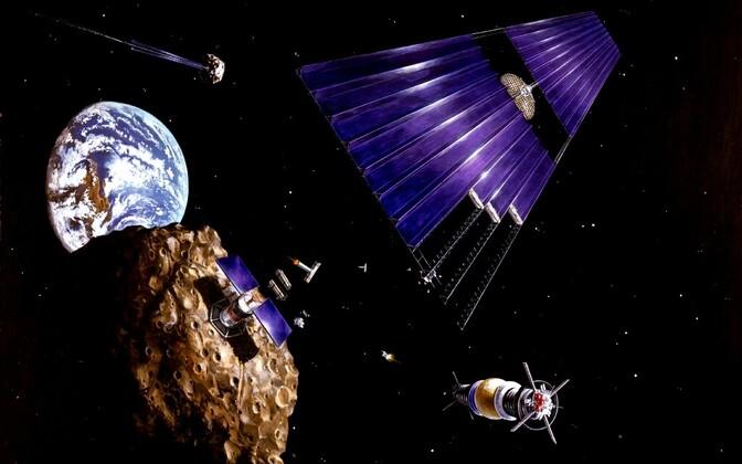 Kunstniku kujutlus asteroididel kaevandamisest.