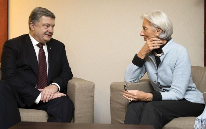 Ukraina president Petro Porošenko ja IMF-i juht Christine Lagarde.