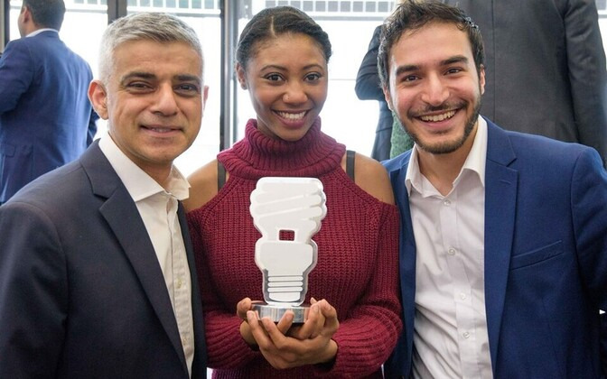 McIntosh and Bozorgi with London mayor Sadiq Khan (left).