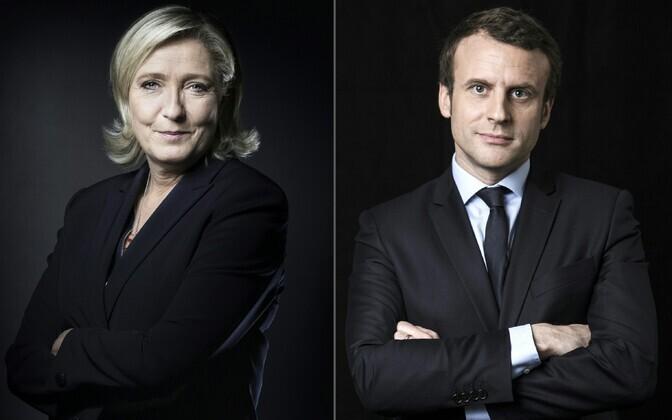 Marine Le Pen ja Emmanuel Macron.
