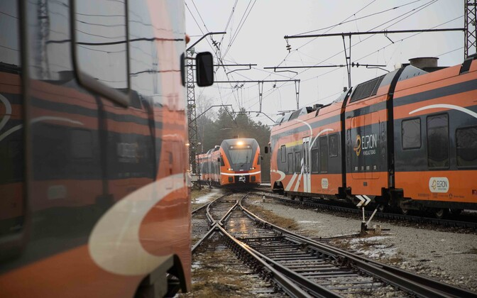 Elron trains in Tallinn's Baltic Station.