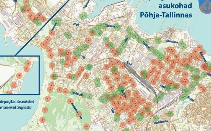 Схема расположения мусорных урн в Пыхья-Таллинне.