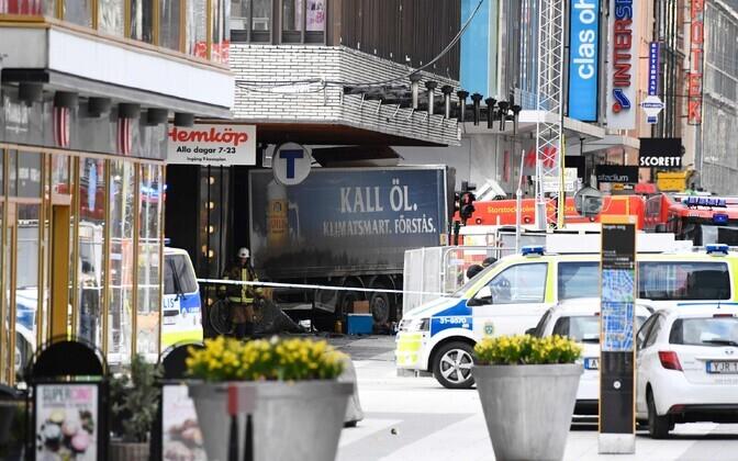 The crashed commercial truck in central Stockholm. April 7, 2017.