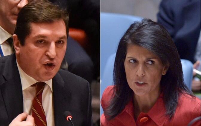 04d9ca3fe12 Venemaa suursaadiku asetäitja Vladimir Safronkov ja USA suursaadik Nikki  Haley.