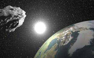 Asteroid 2014 JO25 möödumas Maast - kunstniku kujutis.