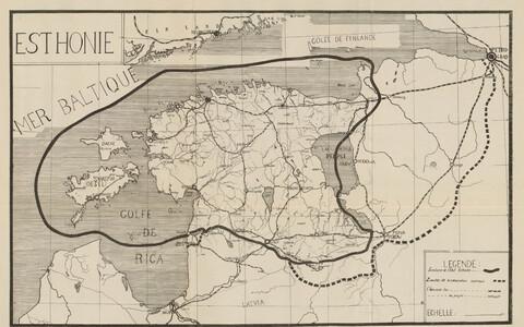 KAART 1. Esthonie. 1919. Kaart raamatust: Mémoire sur l'indépendance de l'Esthonie présenté a la Conférence de la Paix par la délégation Esthonienne. 1919, aprill.