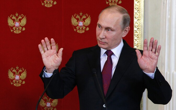 Venemaa president Vladimir Putin 11. aprillil pressikonverentsil Moskvas.