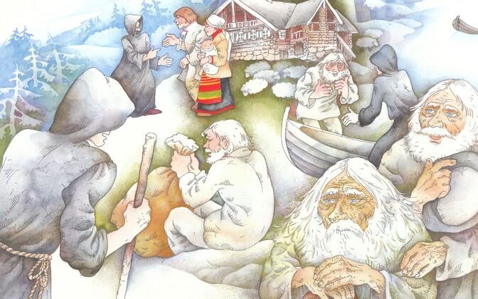Karjala muinasjuttude audioraamatu plaadikaane illustratsioonide autor on Ülle Meister ja kujundaja Toomas Pääsuke