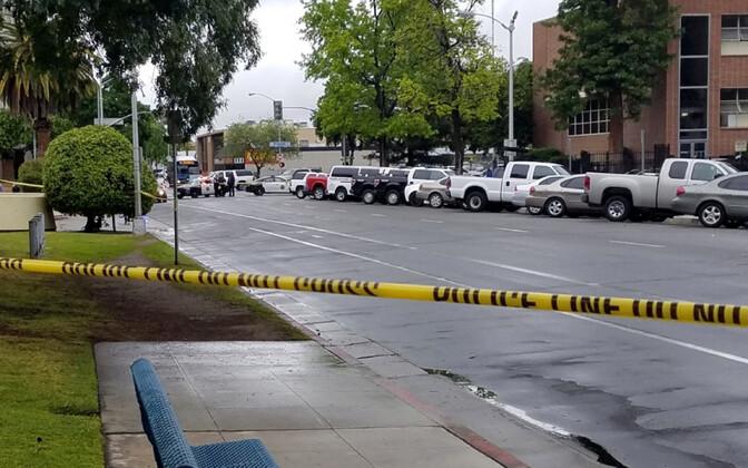 Politsei poolt eristatud kuriteopaik Fresno kesklinnas.