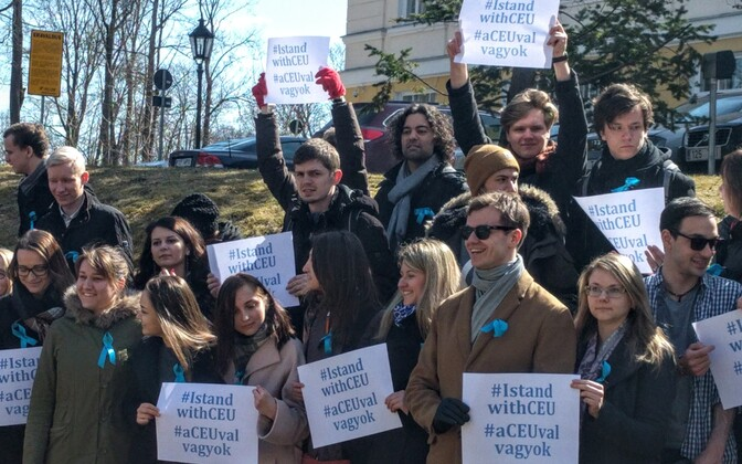 University of Tartu students demonstrating in solidarity with CEU.
