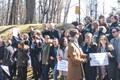 Tartu ülikooli tudengid Kes-Euroopa ülikoolile toetust avaldamas.