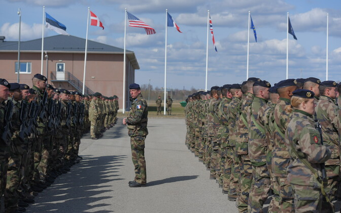 NATO battle group's military parade at Tapa Army Base. April 20, 2017.