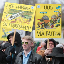 Protests against Rail Baltic in Tallinn, Apr. 22, 2017.