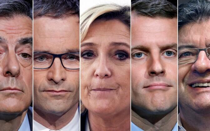 Кандидаты в президенты Франции: Франсуа Фийон, Бенуа Амон, Марин Ле Пен, Эмманюэль Макрон и Жан-Люк Меланшоню