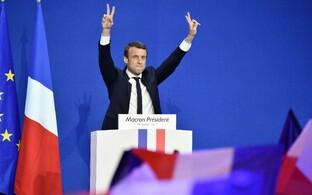 Emmanuel Macron pühapäeval pärast valimiste esimese vooru tulemuste selgumist.
