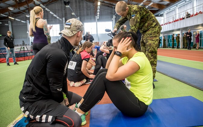 Women participating in an event promoting women joining the Estonian Defence Forces (EDF).