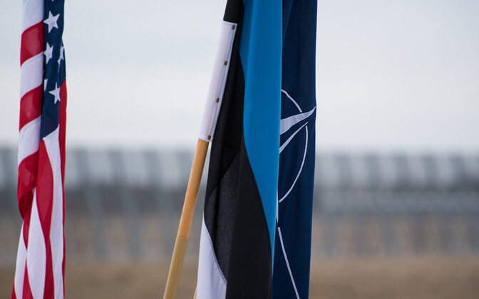NATO, Estonia and USA flags.
