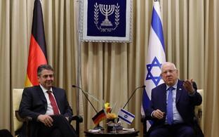 Saksa välisminister Sigmar Gabriel kohtumisel Iisraeli presidendi Reuven Rivliniga.