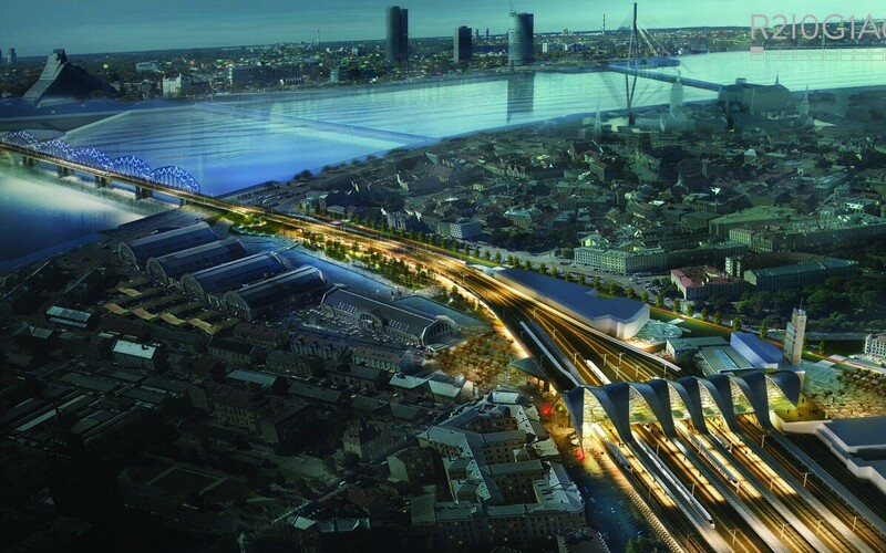 """R2I0G1A6,"" the winning design for the future transportation hub in Riga."