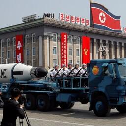 Sõjaväeparaad Pyongyangis.