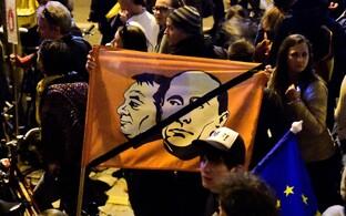 Orbani ja CEU sulgemise vastased meeleavaldajad Budapestis.