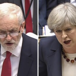 Jeremy Corbyn ja Theresa May.