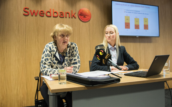 EKI's Marje Josing and Swedbank's Kati Voomets presenting the results of the study. April 27, 2017.