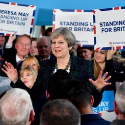 Theresa May kampaaniaüritusel.