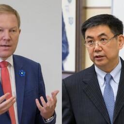 Hiina nädalal kõnelesid riigikogu väliskomisjoni esimees Marko Mihkelson ja Hiina Rahvavabariigi suursaadiku Qu Zhe.
