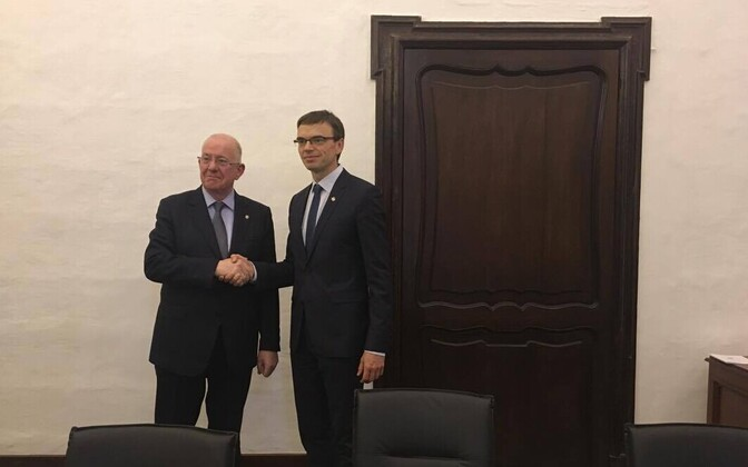 Irish Minister of Foreign Affairs Charles Flanagan with Estonian colleague Sven Mikser. April 28, 2017.