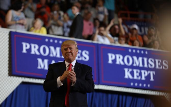 Президент на 100-й день работы в должности предпочел поехать на митинг для своих сторонников Пенсильвании.