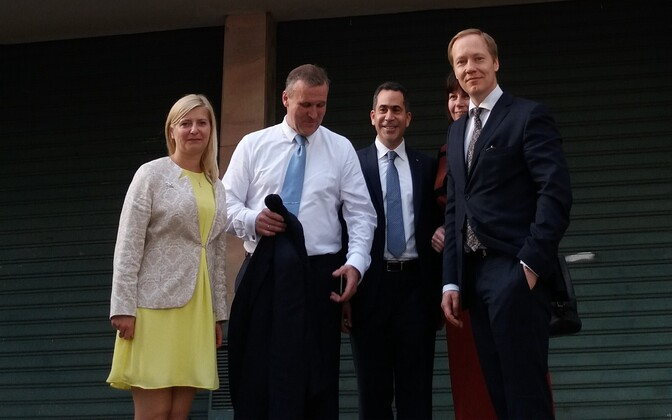 The Estonian delegation and Honorary Consul Fouad Fadel in front of the Estonian Honorary Consulate in Beirut.