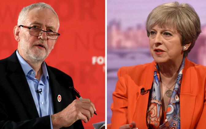 Jeremy Corbyn ja Theresa May.