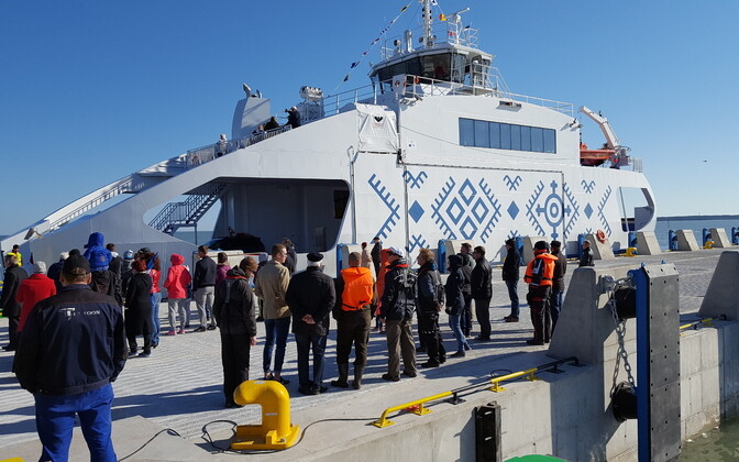 Паром  Soela в порту Трийги в мае 2017 года.