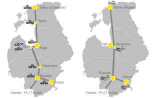 Schematic maps of passenger (left) and freight (right) rail lines and stations.