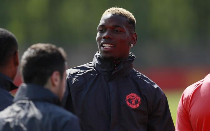 Paul Pogba Manchester Unitedi treeningul.