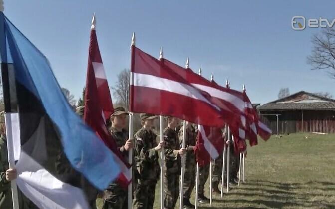 Latvian and Estonian flags.