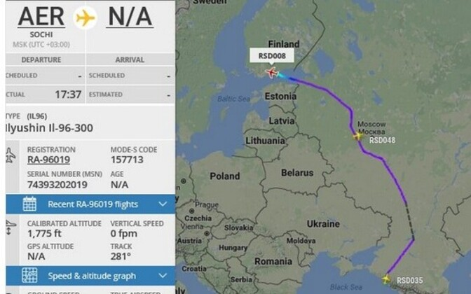The flight that violated Estonian airspace on Wednesday evening, as seen on FlightRadar24.com. May 3, 2017.