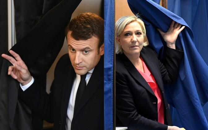 Кандидаты в президенты Эммануэль Макрон и Марин Ле Пен на выборах 7 мая.